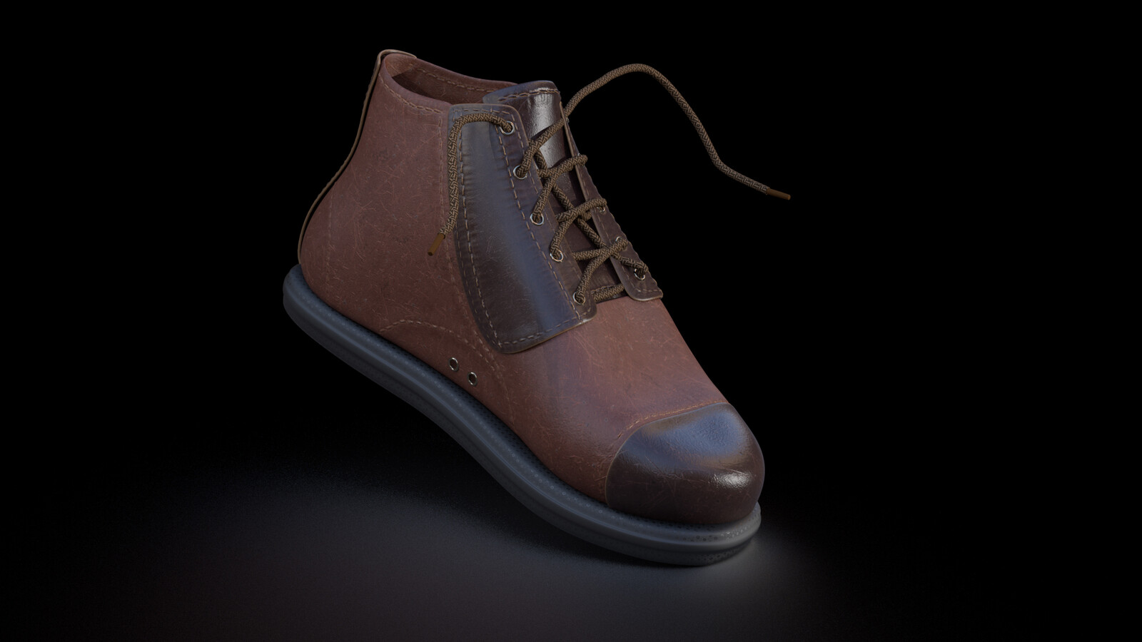 Men's ankle boot modelled in Zbrush and rendered in Cinema 4D and Redshift