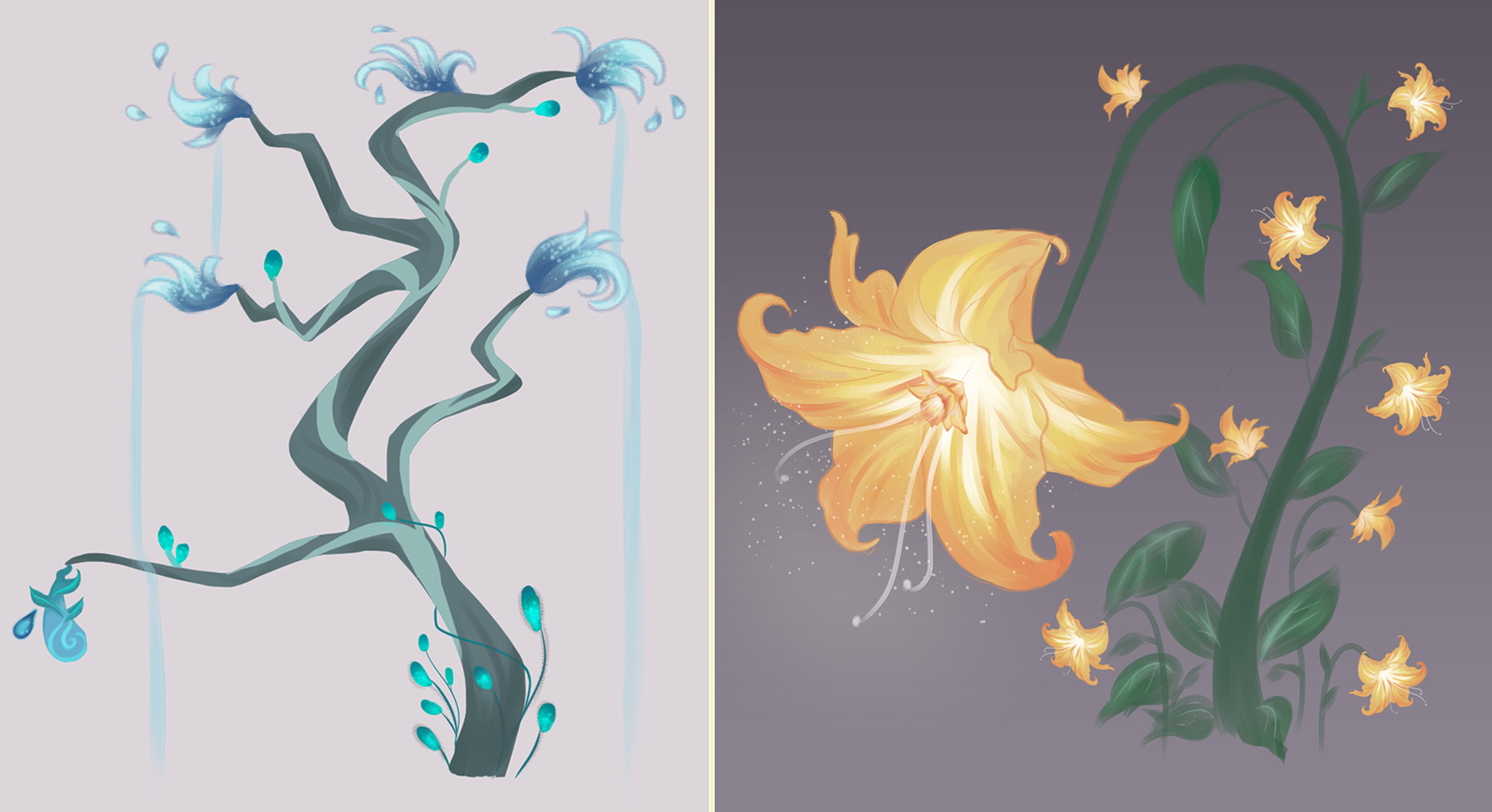 Final concept art that I did for the Water and Light Flora.