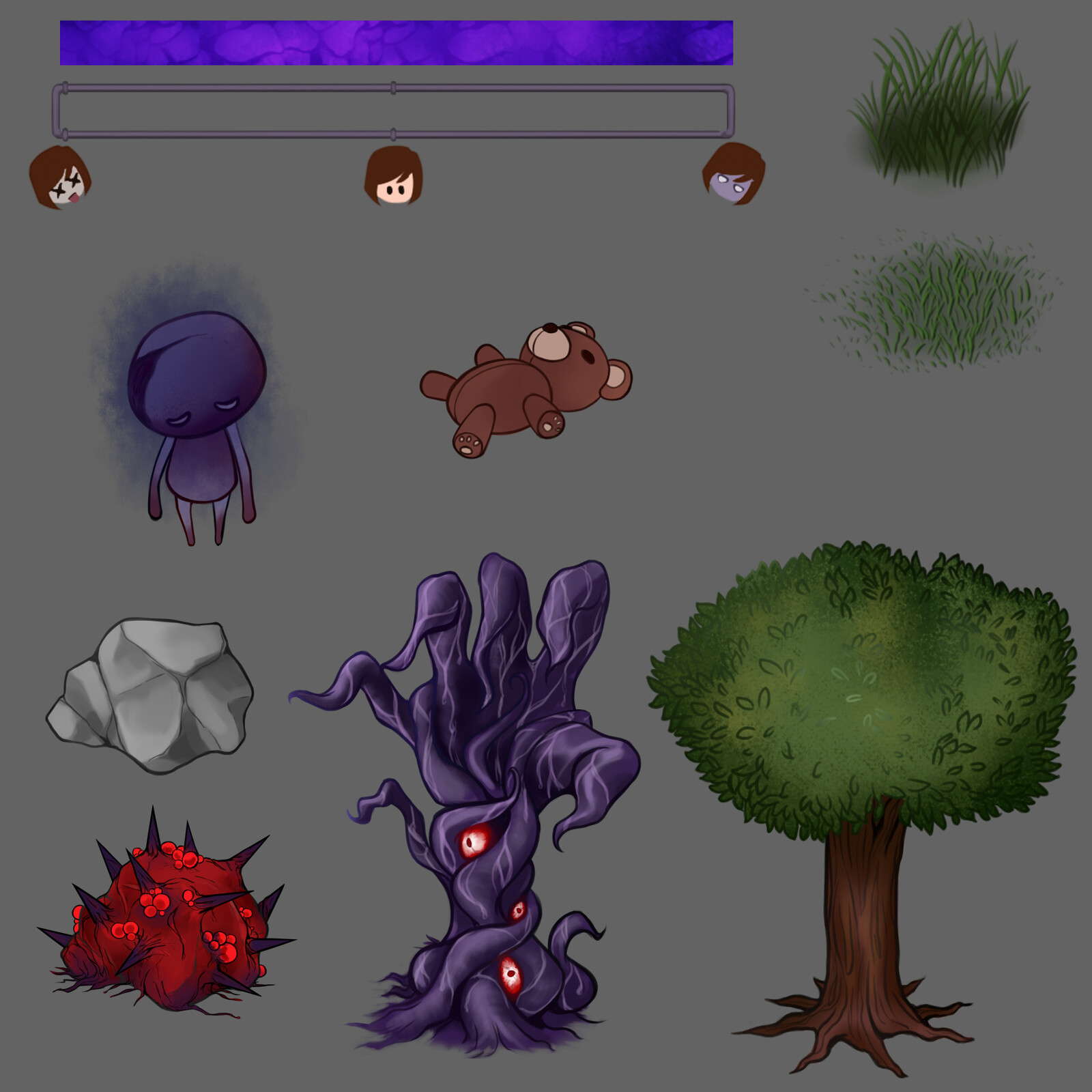 Assets for the gamejam game, trees and rocks can be transformed into a demonic version to release some energy