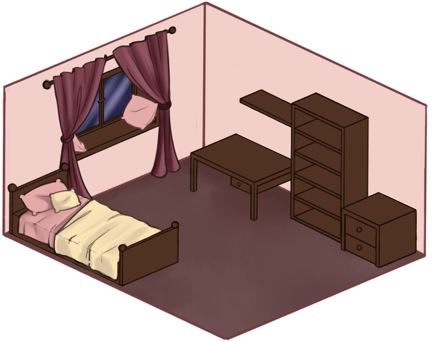Mina's room - concept to test colliders for the full game
