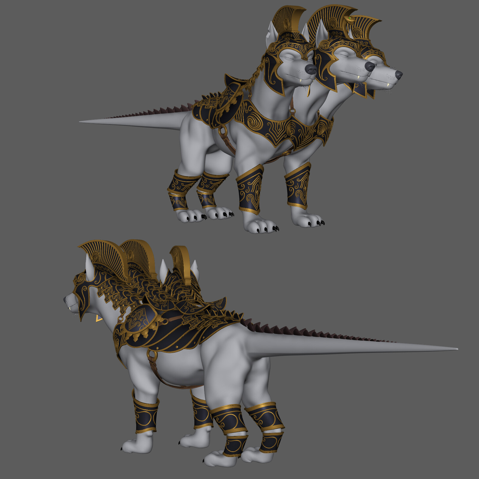 I received the 3D maquette for Cerberus already done by Warner. I had to normalize his face and pose, do retopo  for the production mesh and adjust the armor to make it functional. I also created part of the golden details.