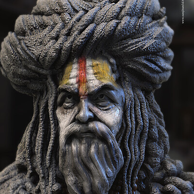 Surajit sen hindu saint digital sculpture surajitsen aug2020a