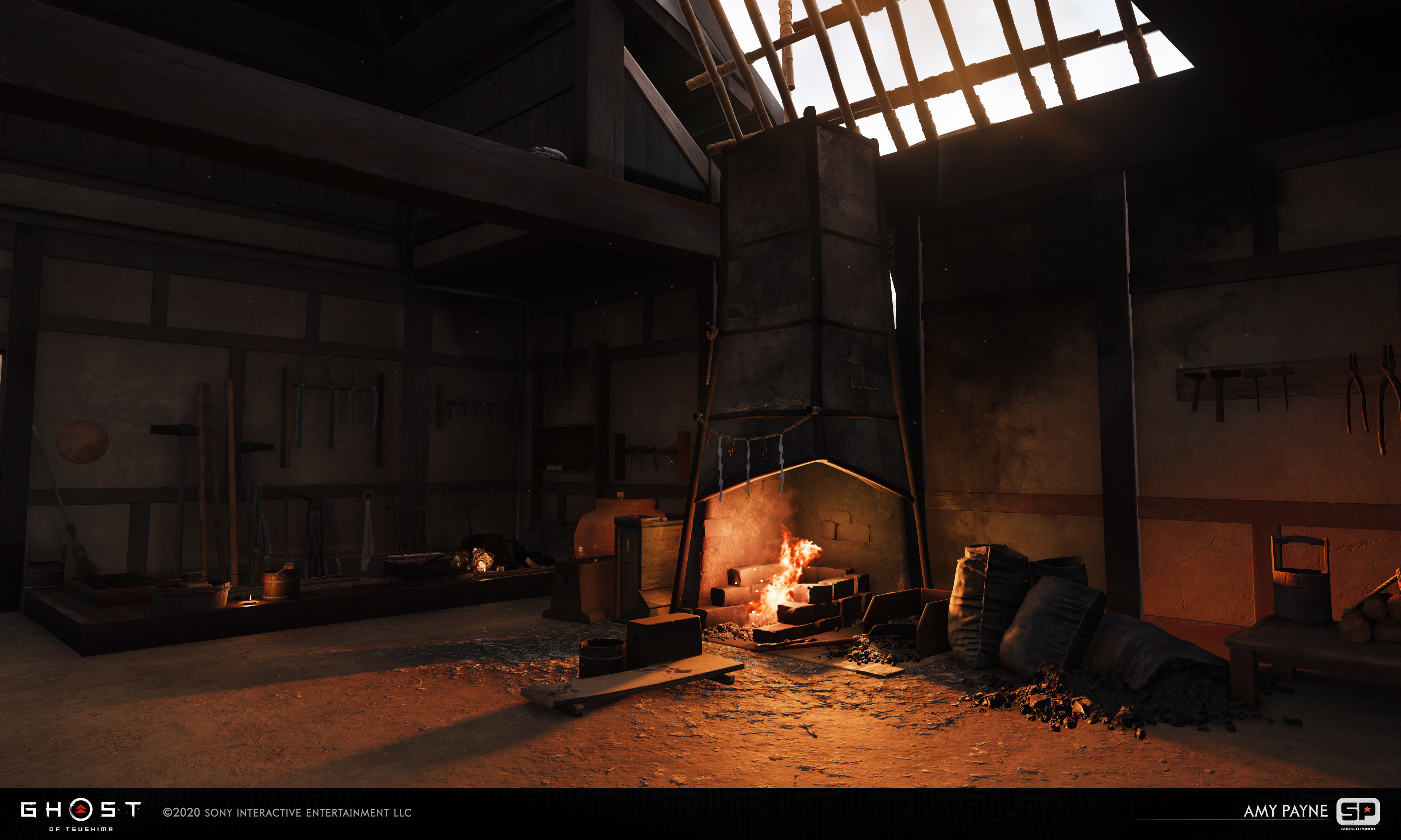 Responsible for doing the main art pass and set dressing the interior of the master smith building as well as the creation of the forge.