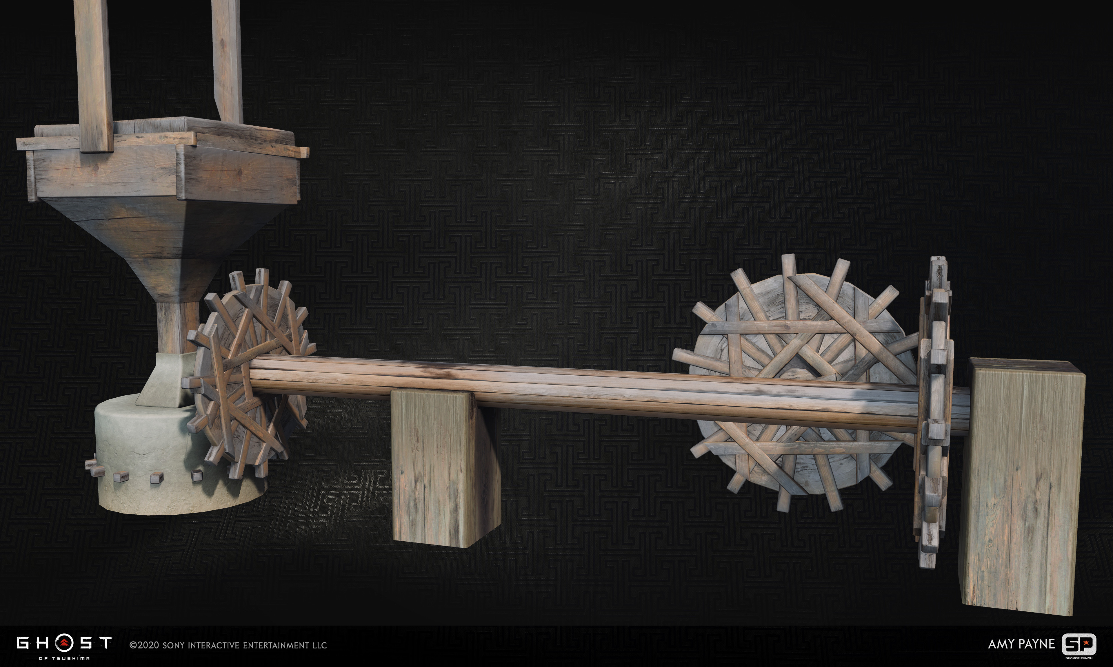Water wheel gears for the interior of water wheel houses. Responsible for modeling and vertex painting.