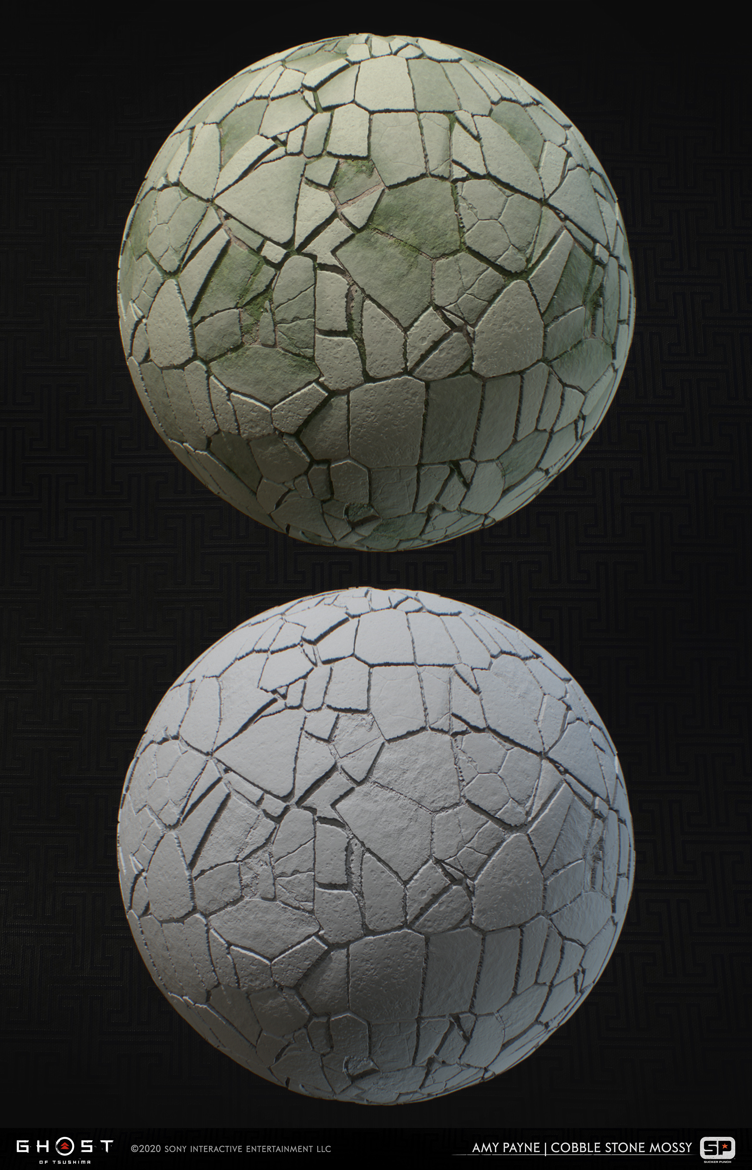 Cobblestone material used throughout the game. 100% Substance Designer.