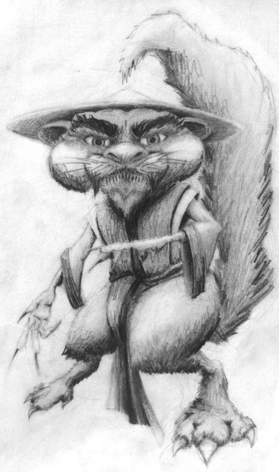 Kung Fu Squirrel Sketch