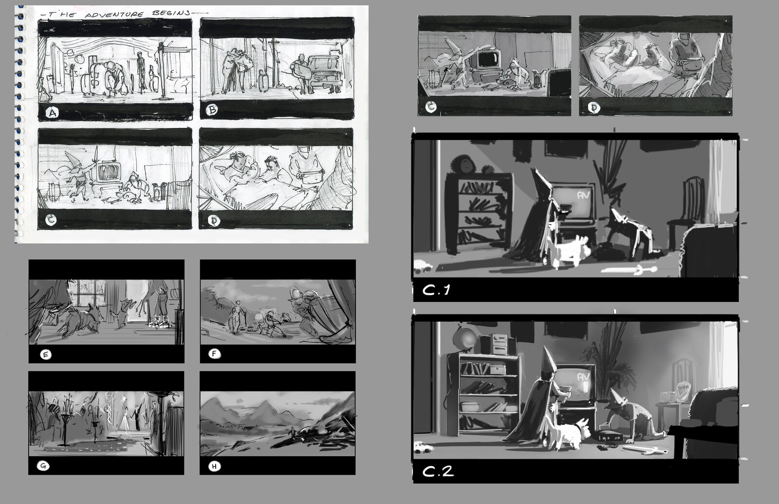 all my roughs and thumbnail ideas.