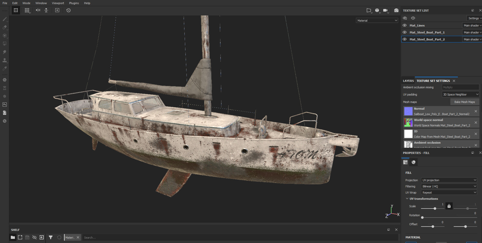 Substance Painter Project view. All textures fit in two PBR texture sets.