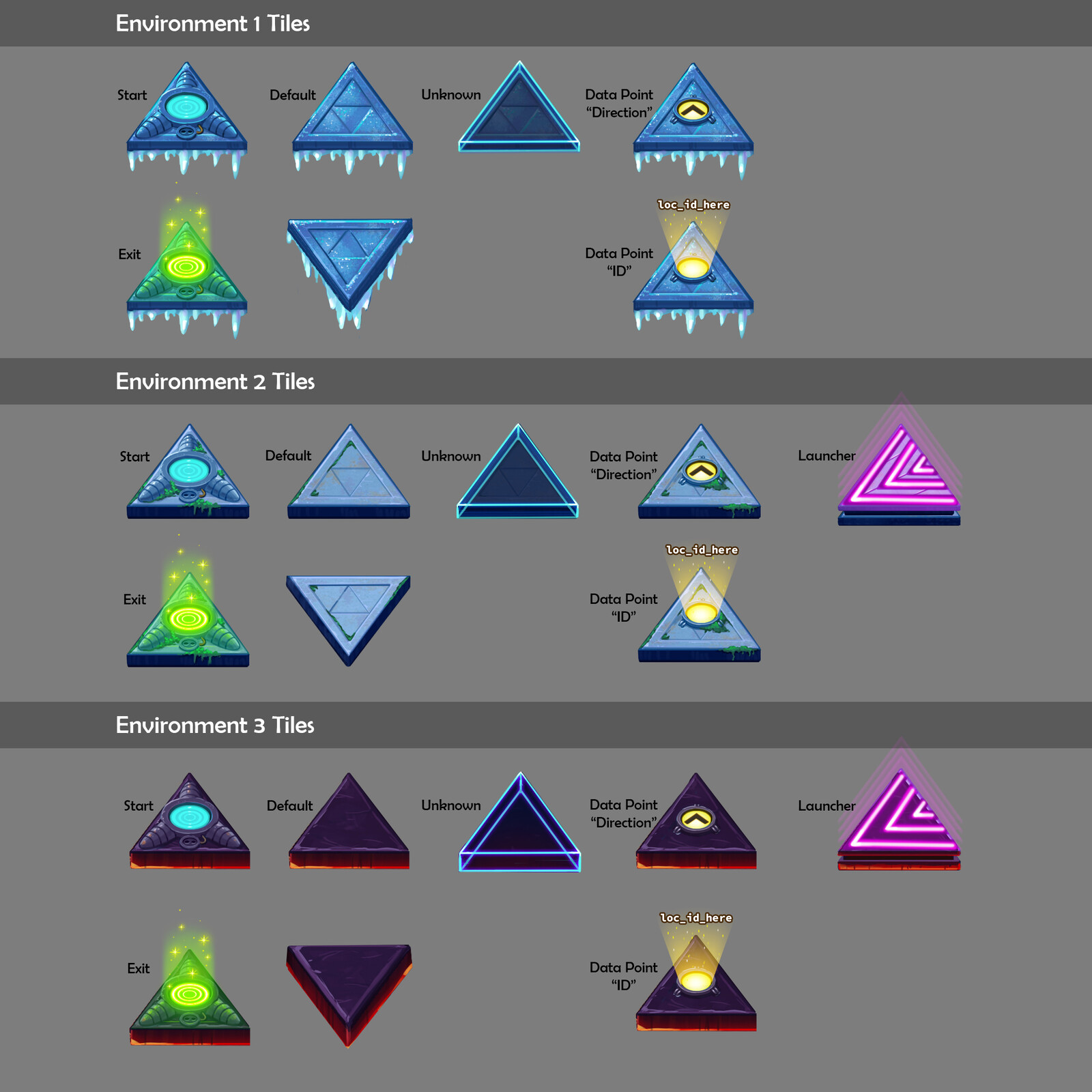 Early tile concepts for all stages.