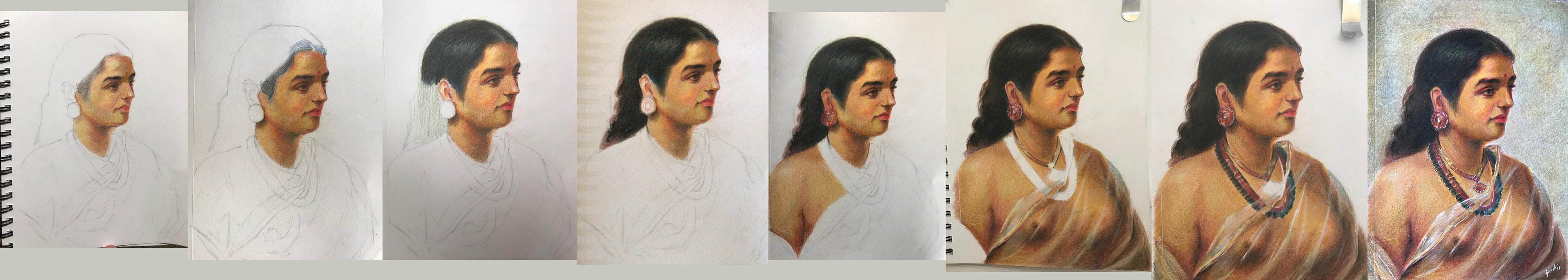 Ravi Varma Study - Colour Pencil on Paper - Progress