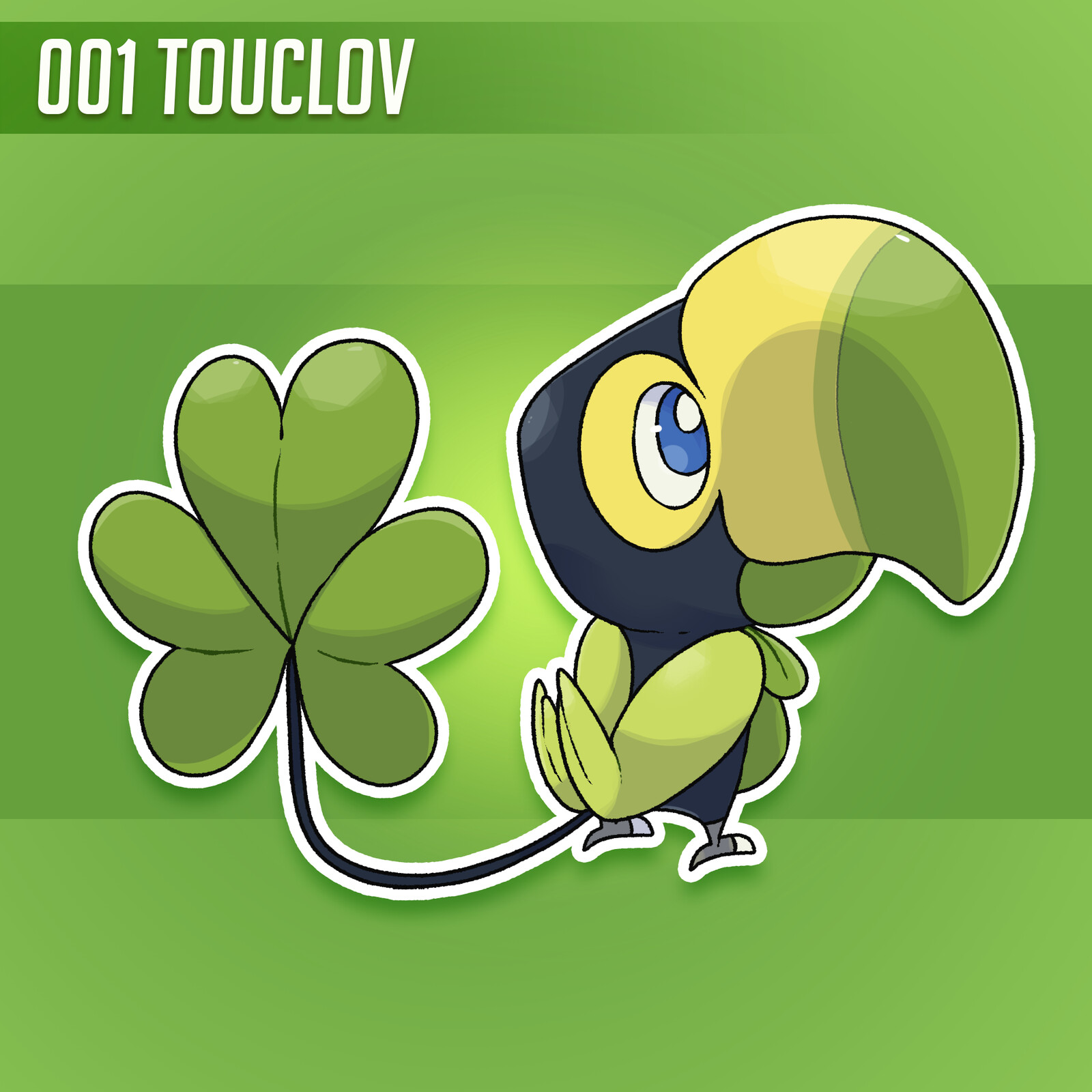 Touclov is a grass starter Pokemon designed by me