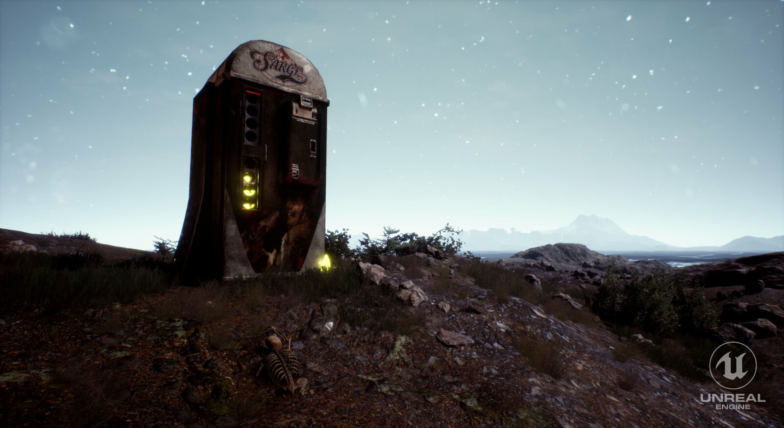 Old version of Sarge soda machine with more typography elements in Unreal Engine environment