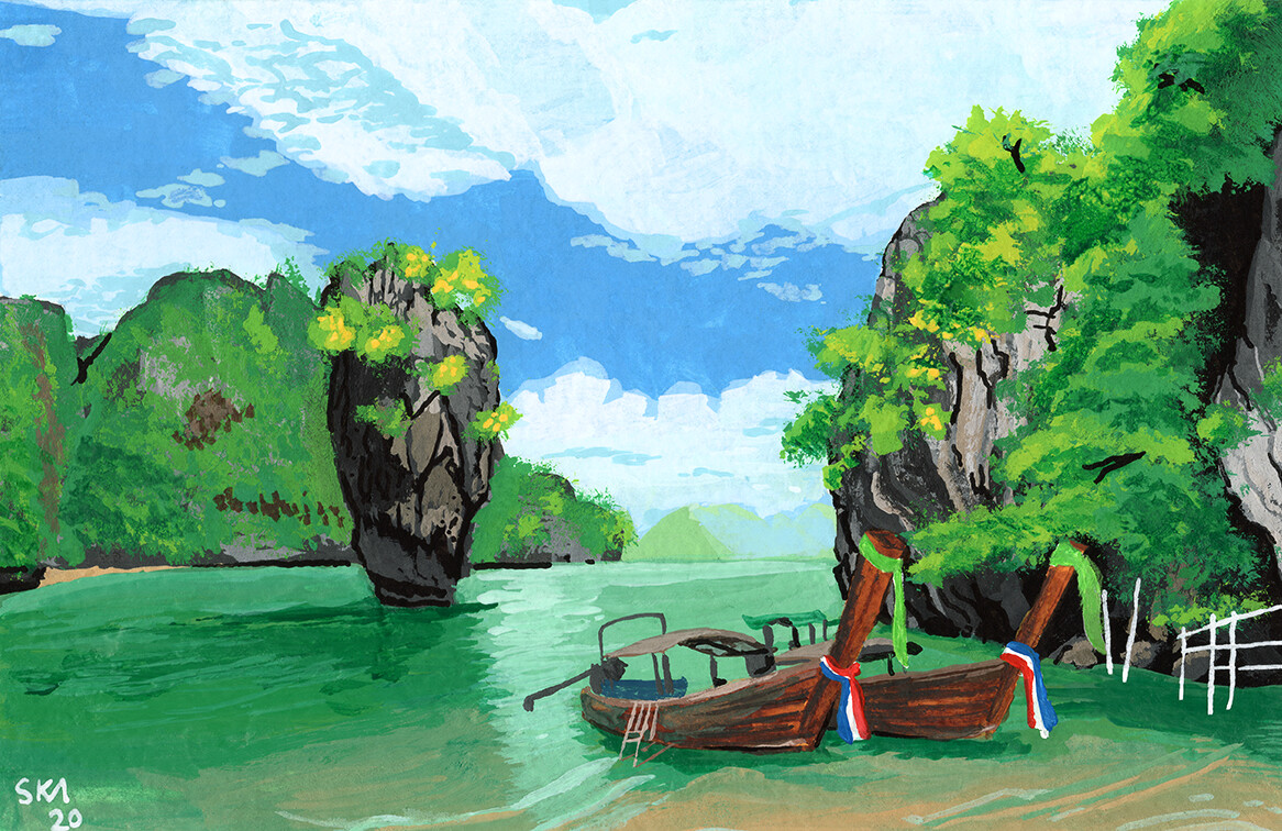 """""""A Postcard from #SomewhereNotHere- Thailand Longboat"""" Posca Pen, Acrylic, Gouache, and Watercolour on Paper"""