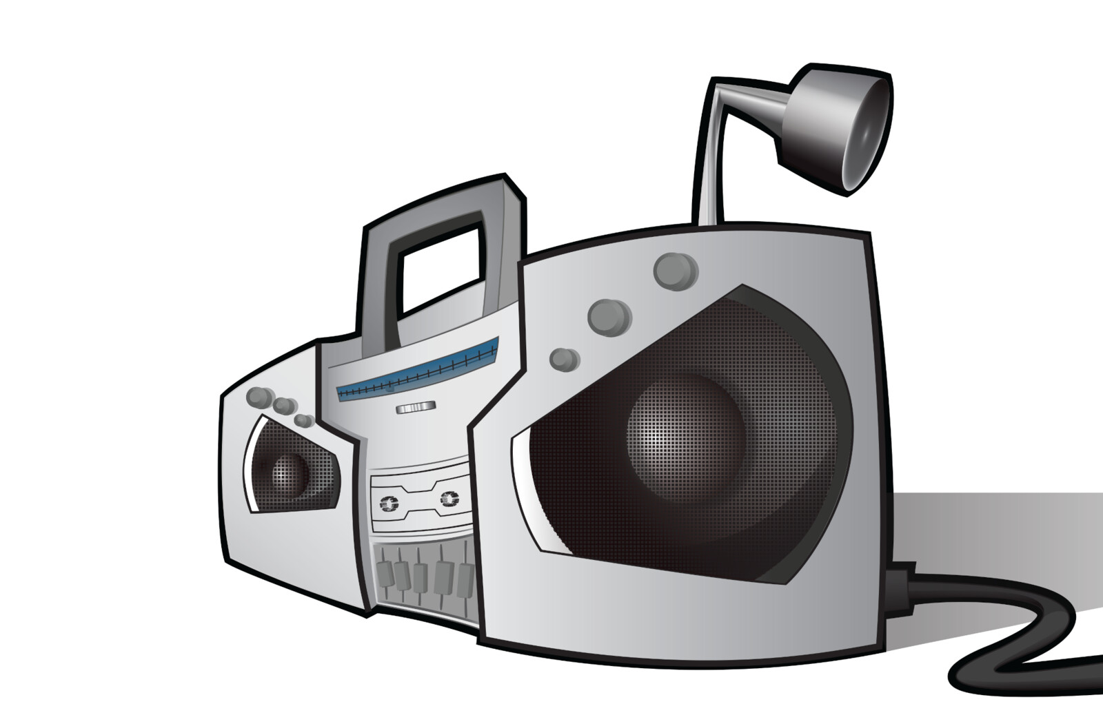 Angry Boombox Vector Graphic