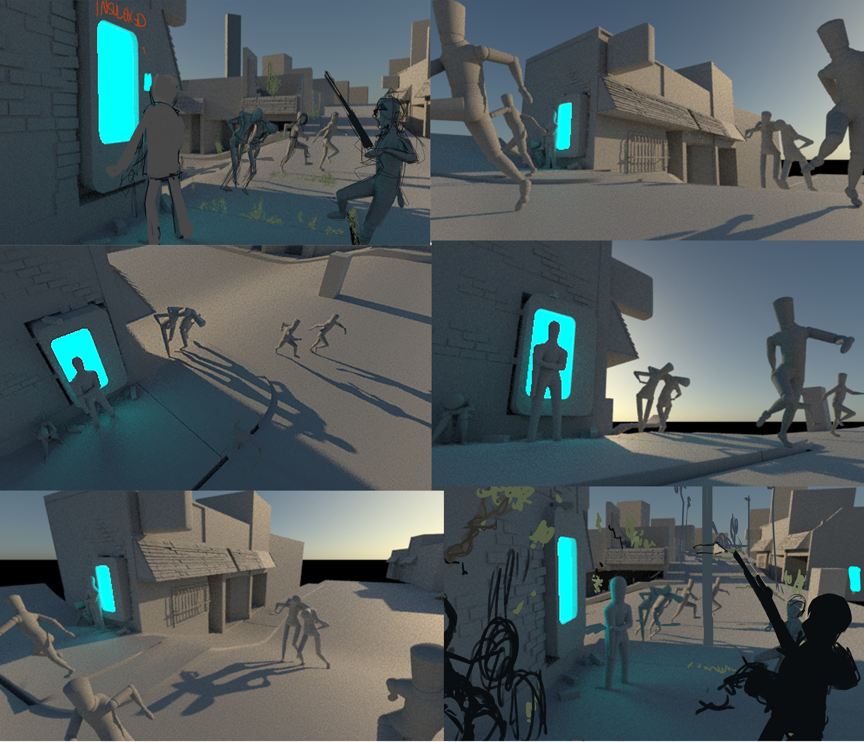 early exploration of camera angles to find the best way to tell the story, using 3d assets.