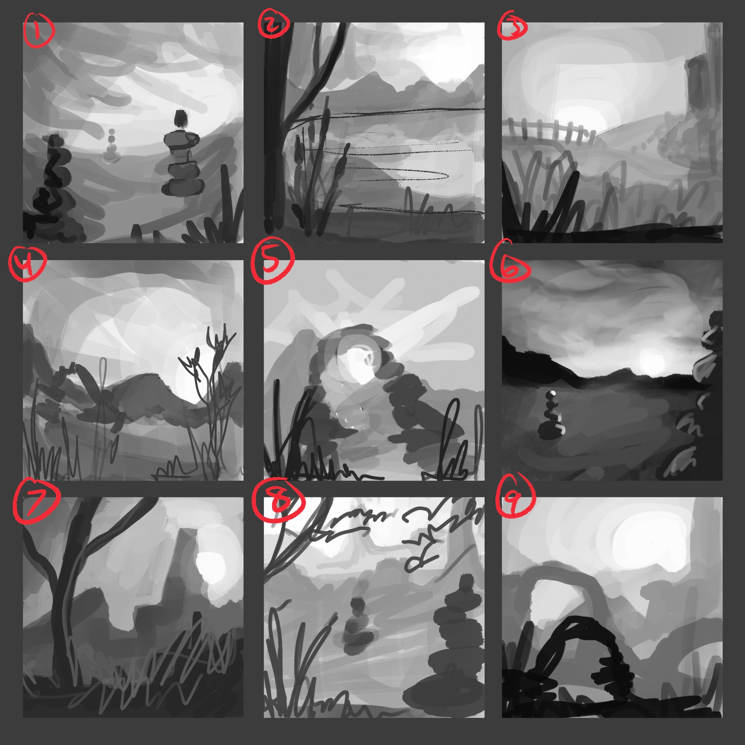 9 thumbnails—  I decided to go with a mix between 4 and 1