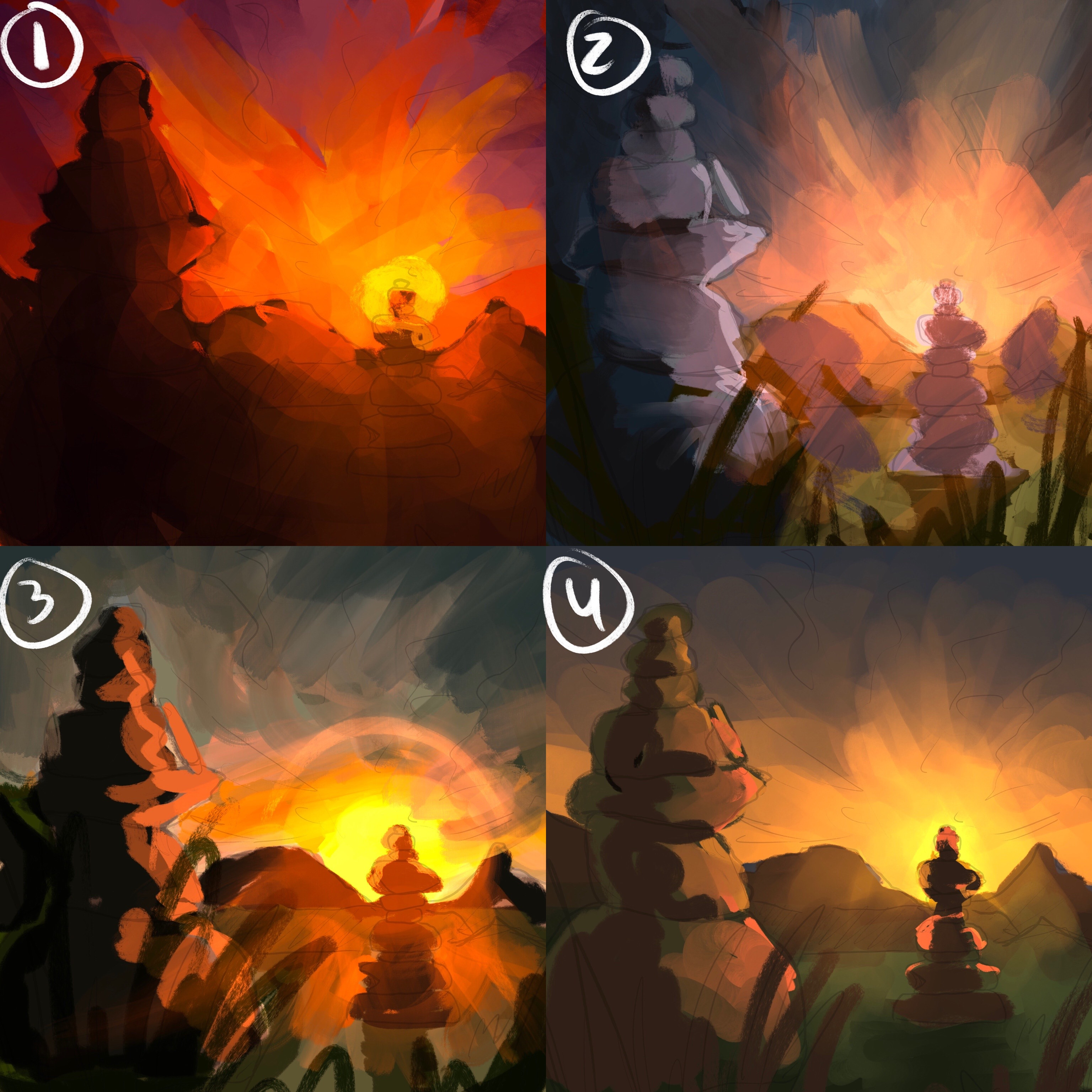 Color comps—  I decided to go with the colors in 2. By the end, I lightened the values a lot to get more of a pastel feeling!