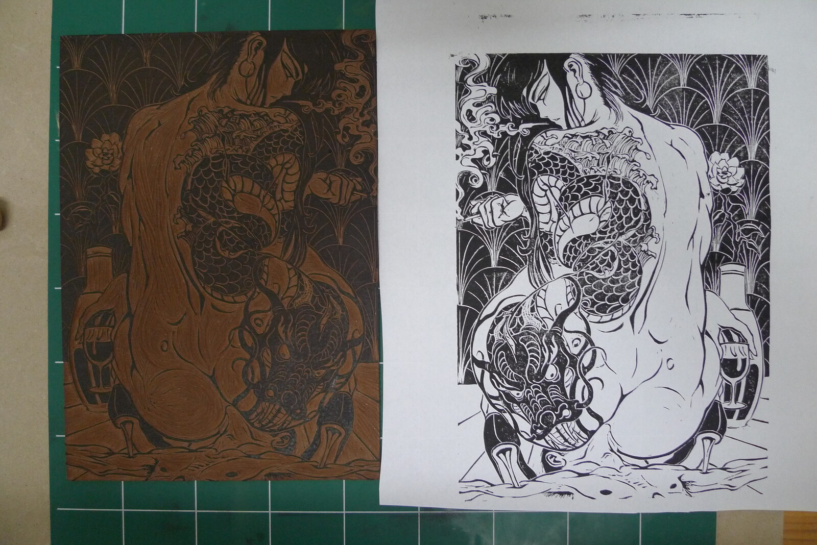 Test print with the linocut