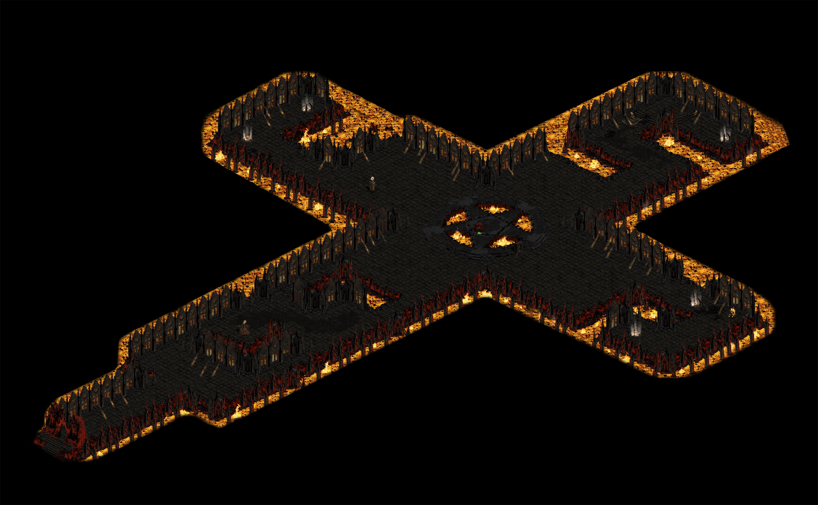 I tried many different layouts at first but in the end decided to stick with the cross-shaped layout; I really like the design of it and wanted to keep that classic Diablo-esque feeling in the level.