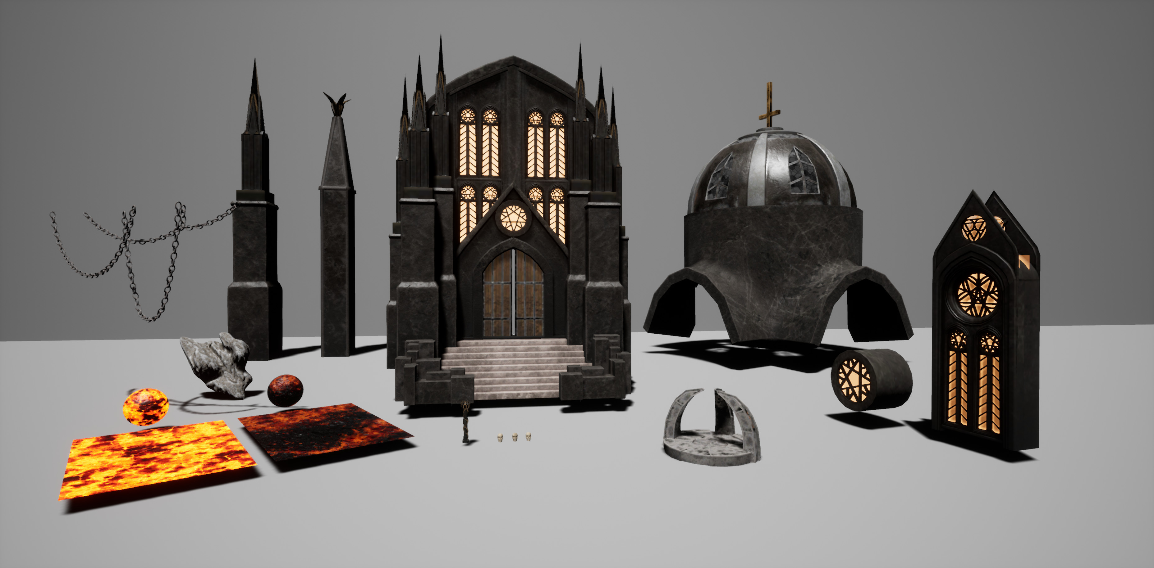 Some of the unique models in the scene, and also the two lava materials I used for the terrain (which were both put together in UE to be animated).