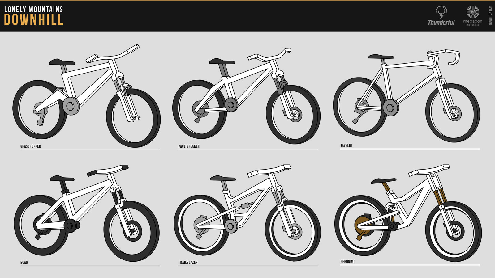 All 6 bikes you can play with made as linework for a community challenge.