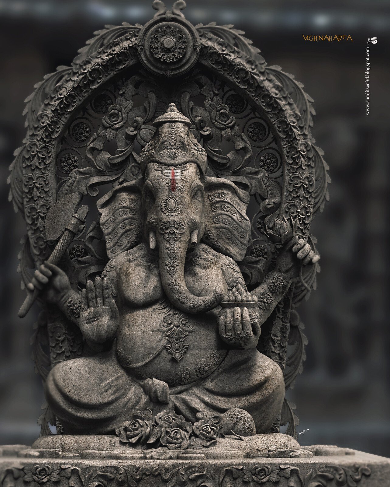 Vighnaharta Digital Sculpture. Dedicating one of my Digital Sculptures to Lord Ganesha. May the Lord Vighna  Vinayaka removes all obstacles and showers us with bounties. Happy Ganesh Chaturthi