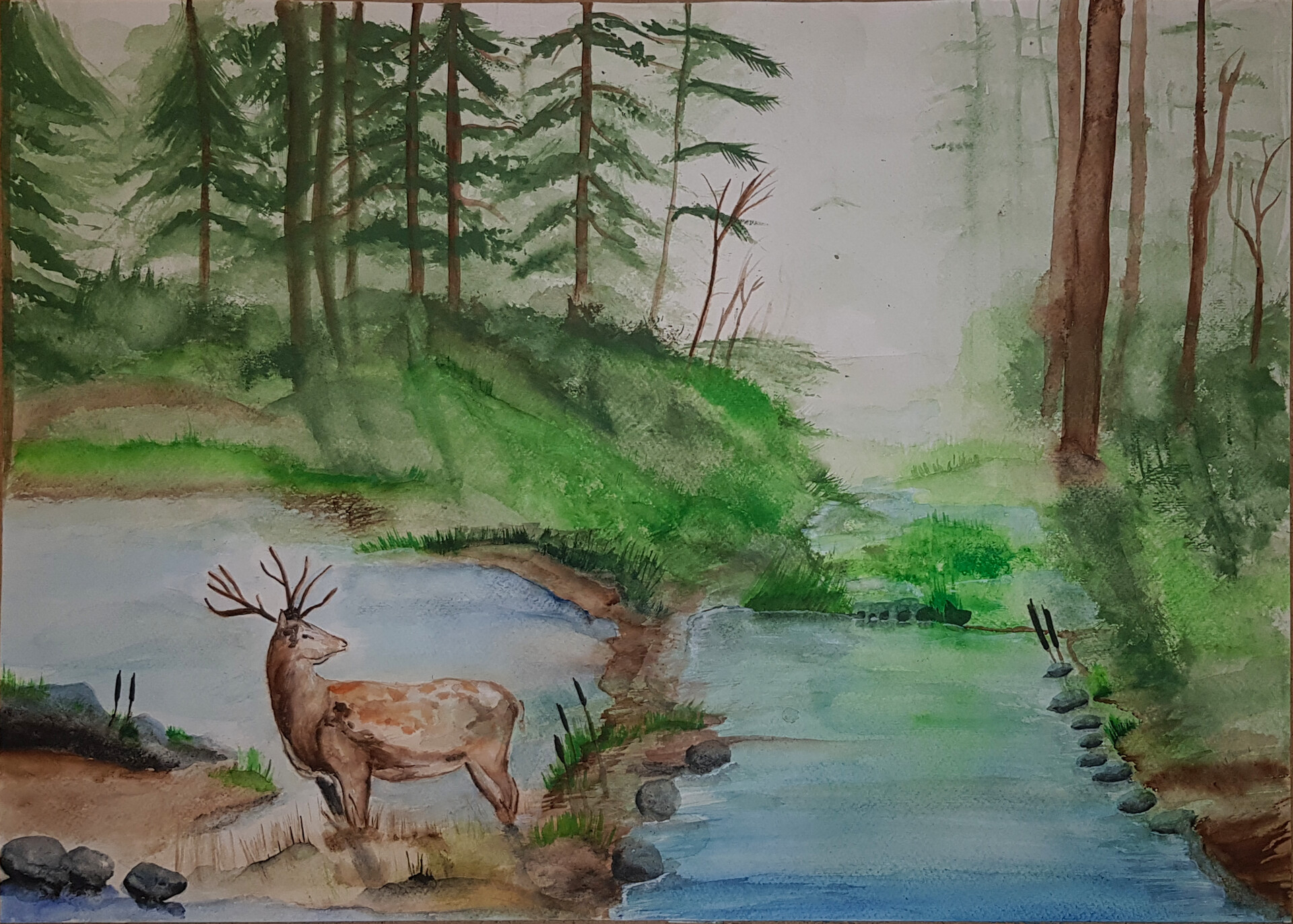 artstation deer into the forest watercolor rumen georgiev deer into the forest watercolor rumen