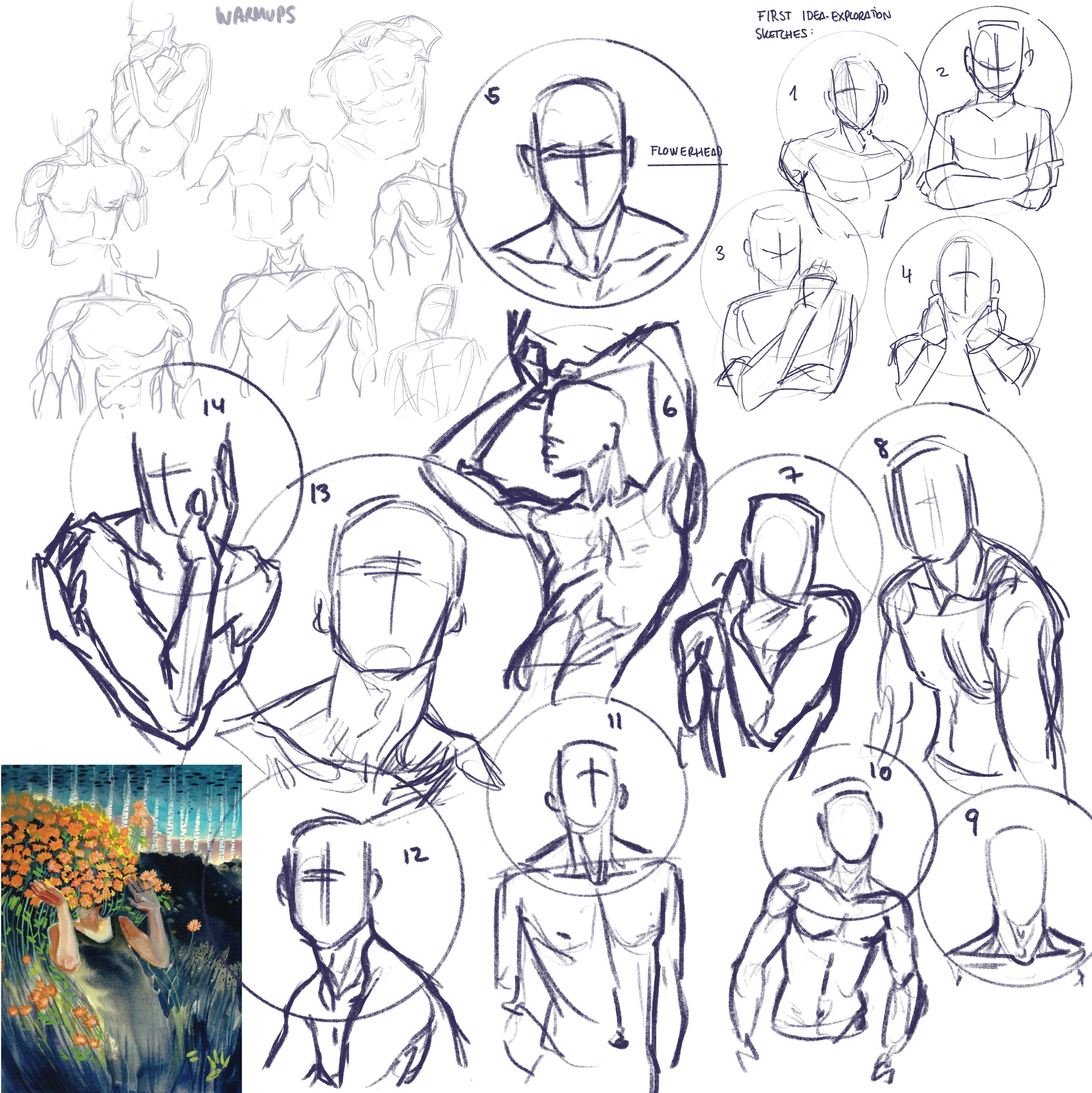 Collection of figure sketches and ideas I showed to the client so we could agree on the mood and direction of the piece. On the bottom left I have the original art of Flowerhead by Amanda Dawn Potter (@ burn_your_fire on Instagram)