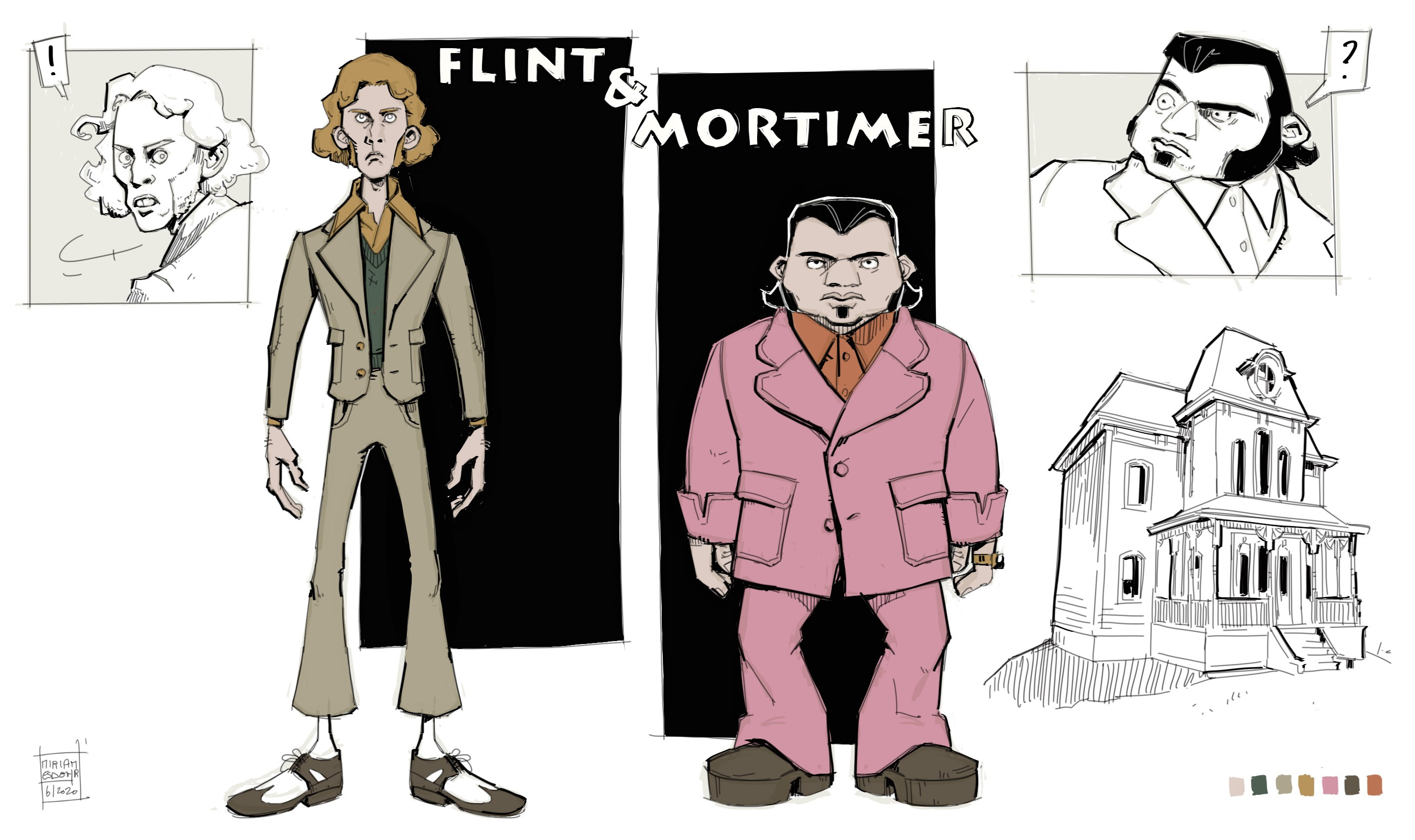 Final character concepts for Flint and Mortimer, only some changes were made later on in Mortimer's outfit. This one and the following others were made in Autodesk SketchBook.