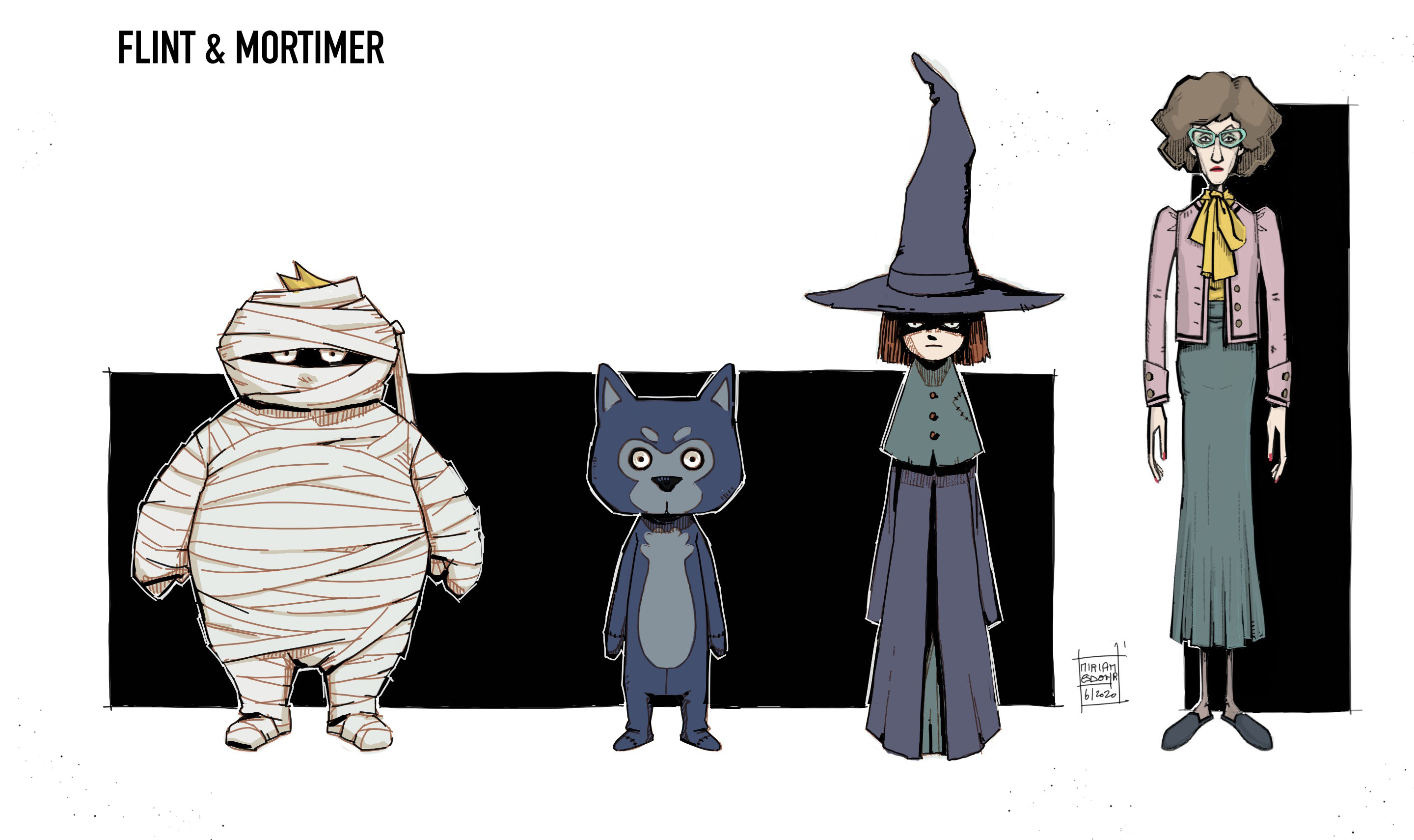Final character concepts for the three kids dressed up for Halloween and a very likeable teacher.