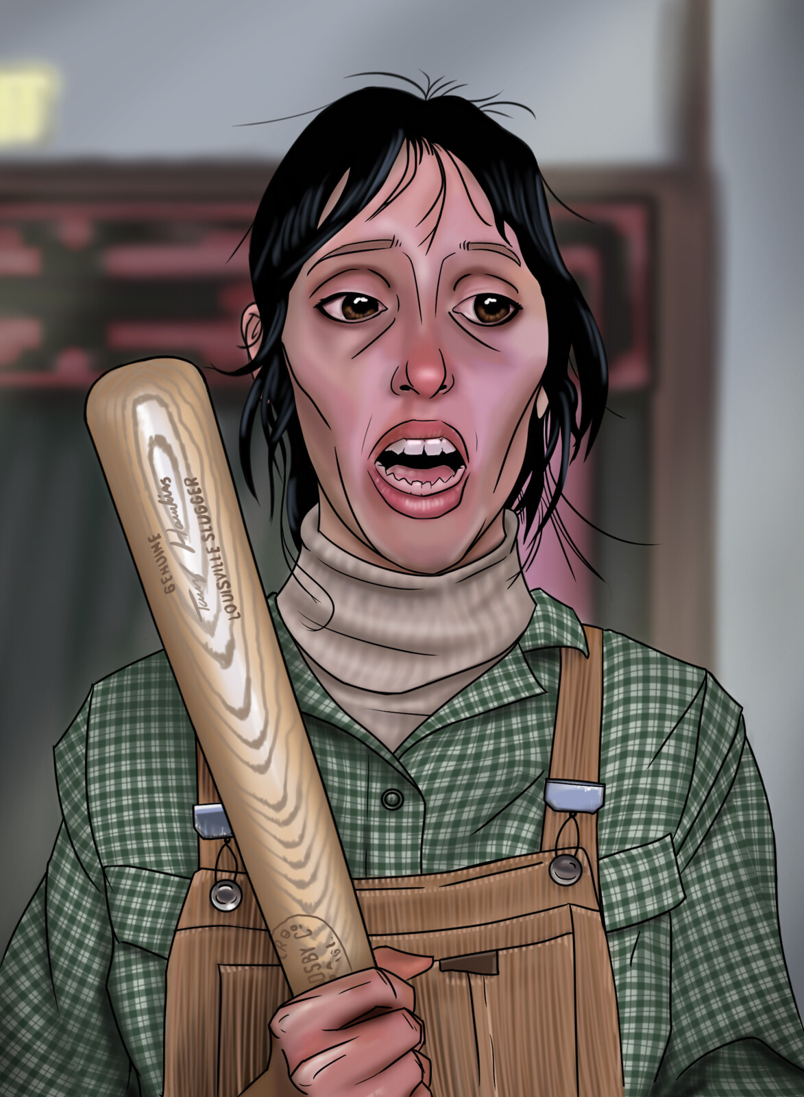 A caricature of Mrs Torrence from 'The Shining'. Digital.
