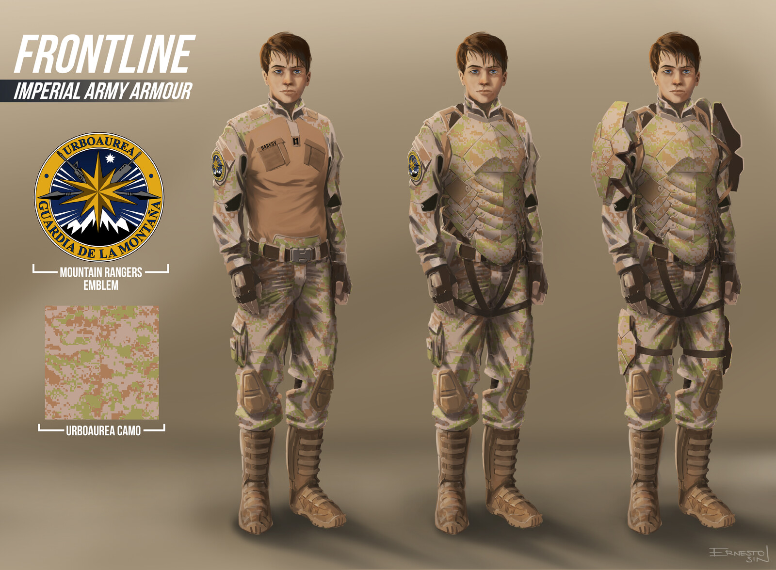Design for our imperial uniform, camo pattern, and armour.
