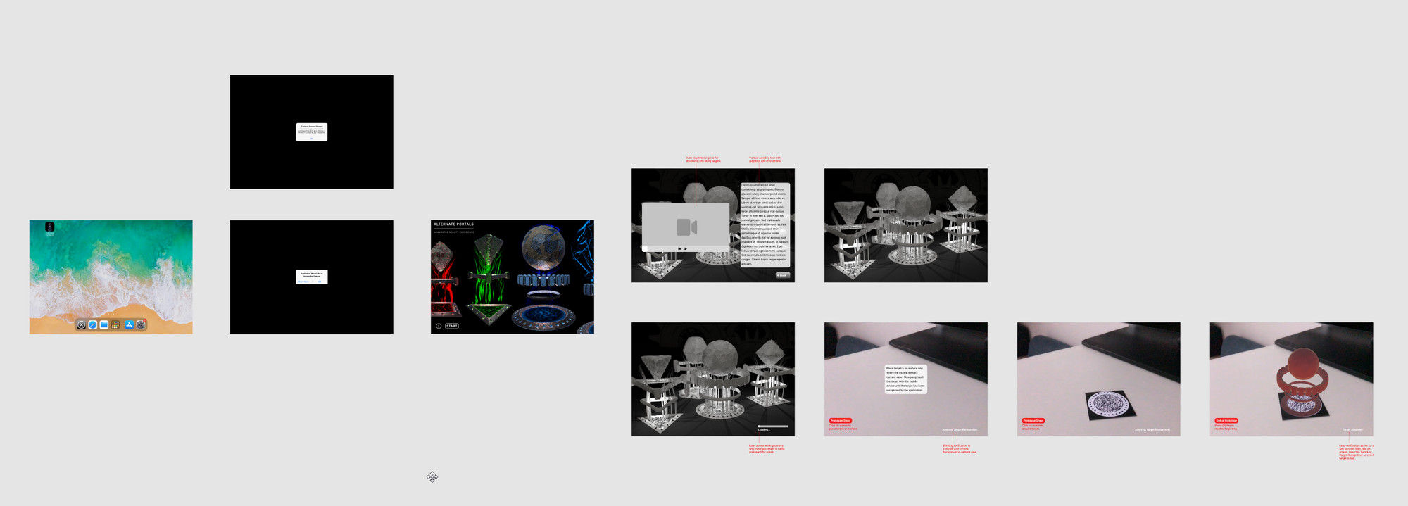 User interface prototype developed with Figma and progresses through the screens that one is intended to go through when using the AR application.