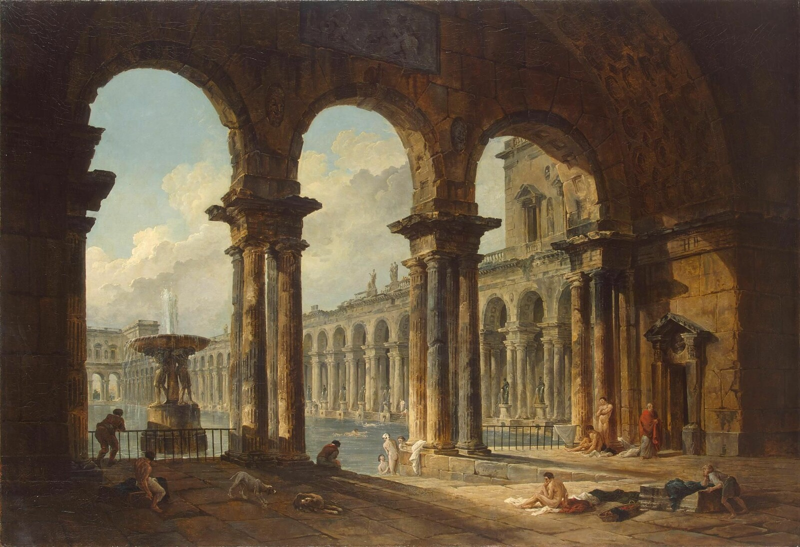 The scene is based on this painting by Hubert Robert.