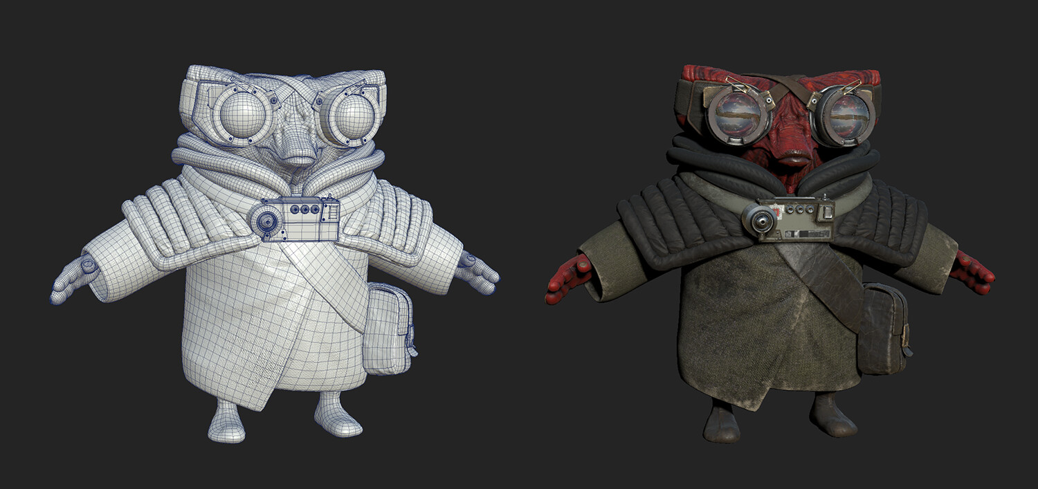 Final retopology (zbrush) and textures in Substance Painter