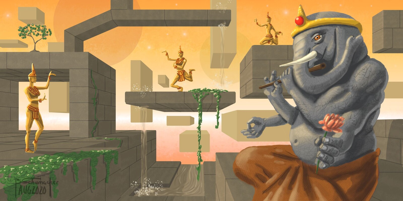 Ganesha and Apsara