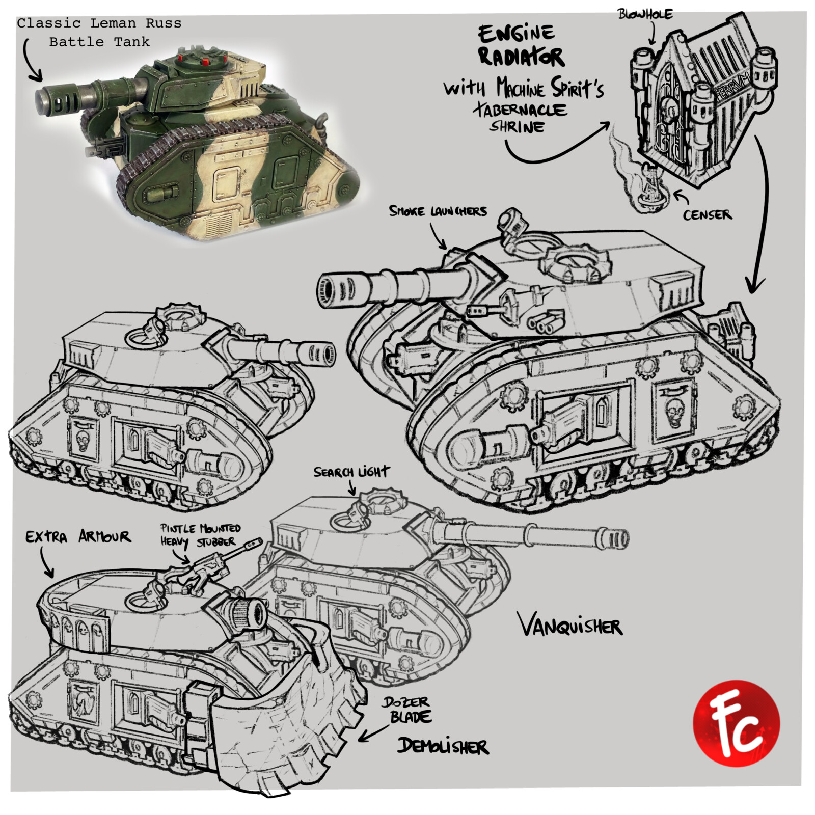 From the Original Design to A new Leman Russ design (or maybe an ancient pattern rediscovered, the Stonehenge Pattern, directly from the Holy Terra)  It's was a lot of work, hope you like it ...