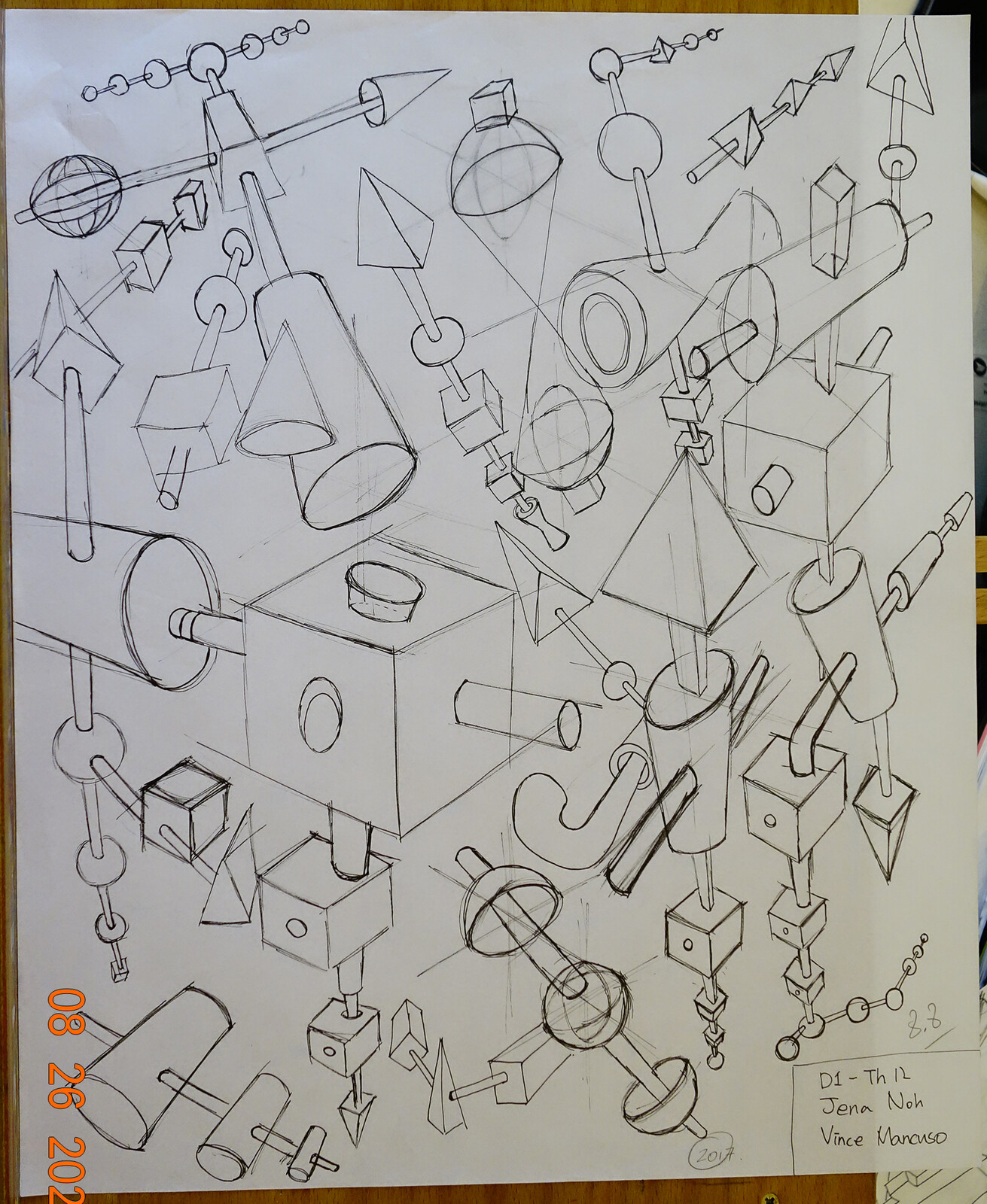 Project 3: 150 minimum, draw all the forms, spheres, cones, cylinders, cubes and pyramids. Line only