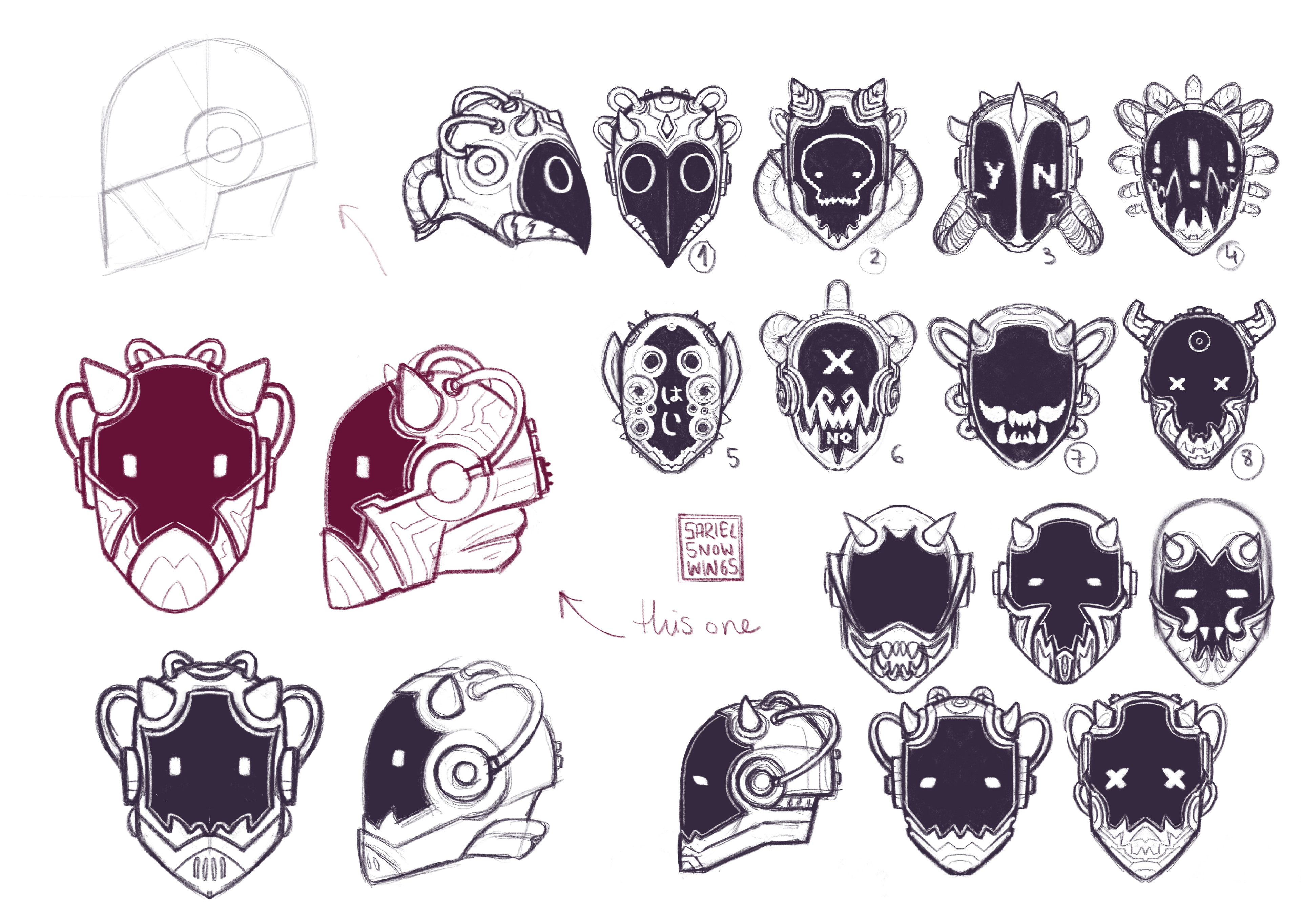 Concept art and variations for the main character's helmet