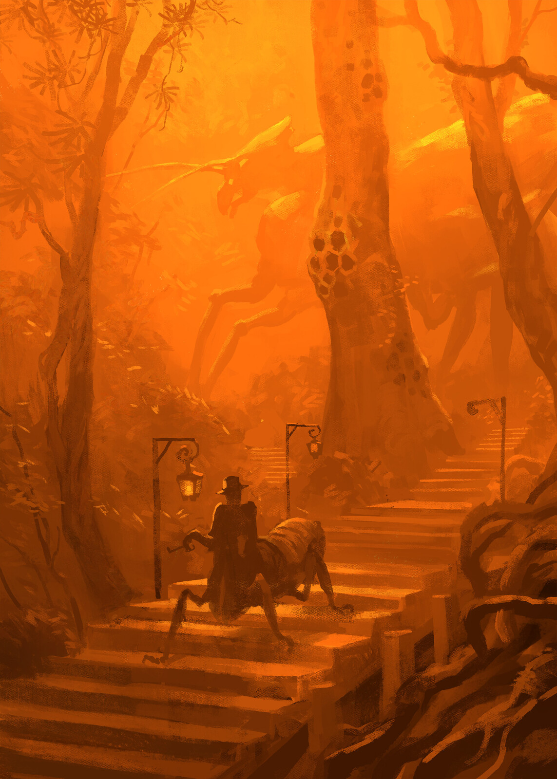 Tonal sketch based on the thumbnail I favored the most. I love orange. It's a very interesting color.