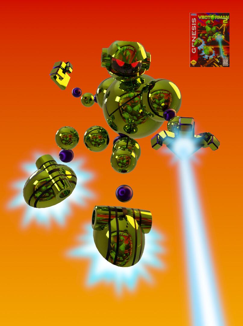 3D model of Vectorman based on Vectorman 2 Sega Genesis video game cover art