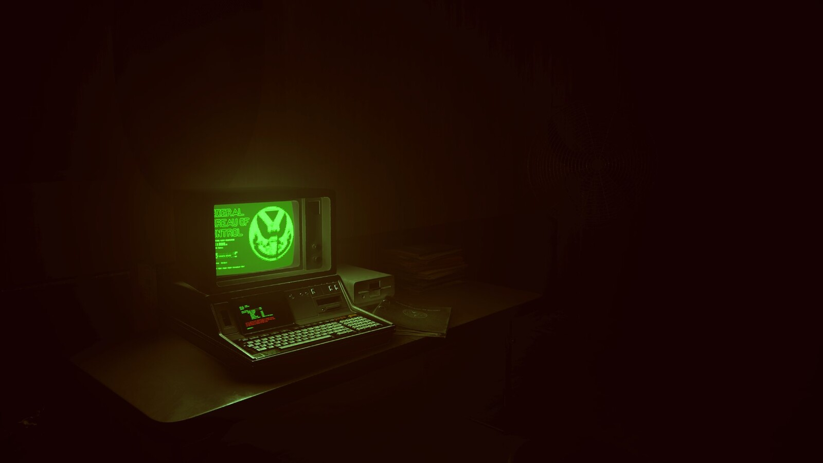 I created the desk, computer and floppy drive. Screenshot by Ewan Wilson.
