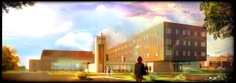Exterior Concept (Approach From Parking) - St. John Paul II Newman Center (Omaha, NE)