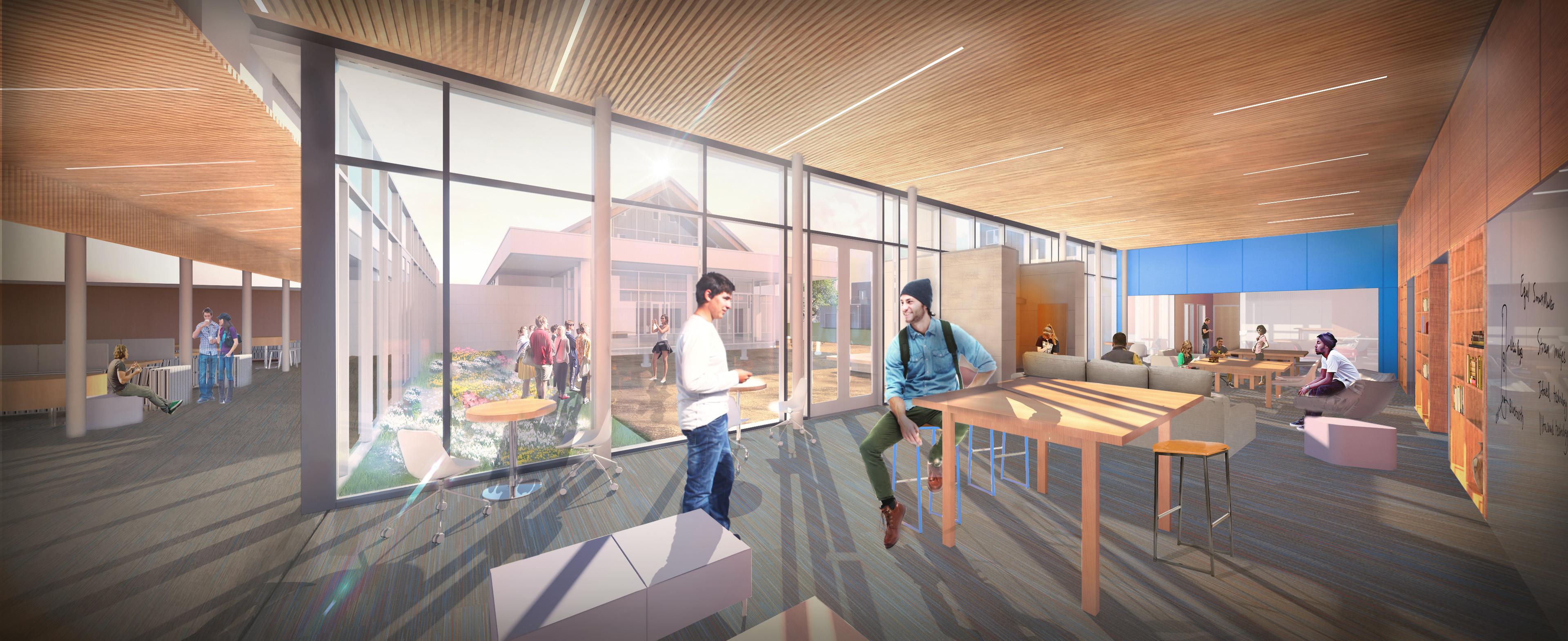 Interior Library Concept - St. John Paul II Newman Center (Omaha, NE)