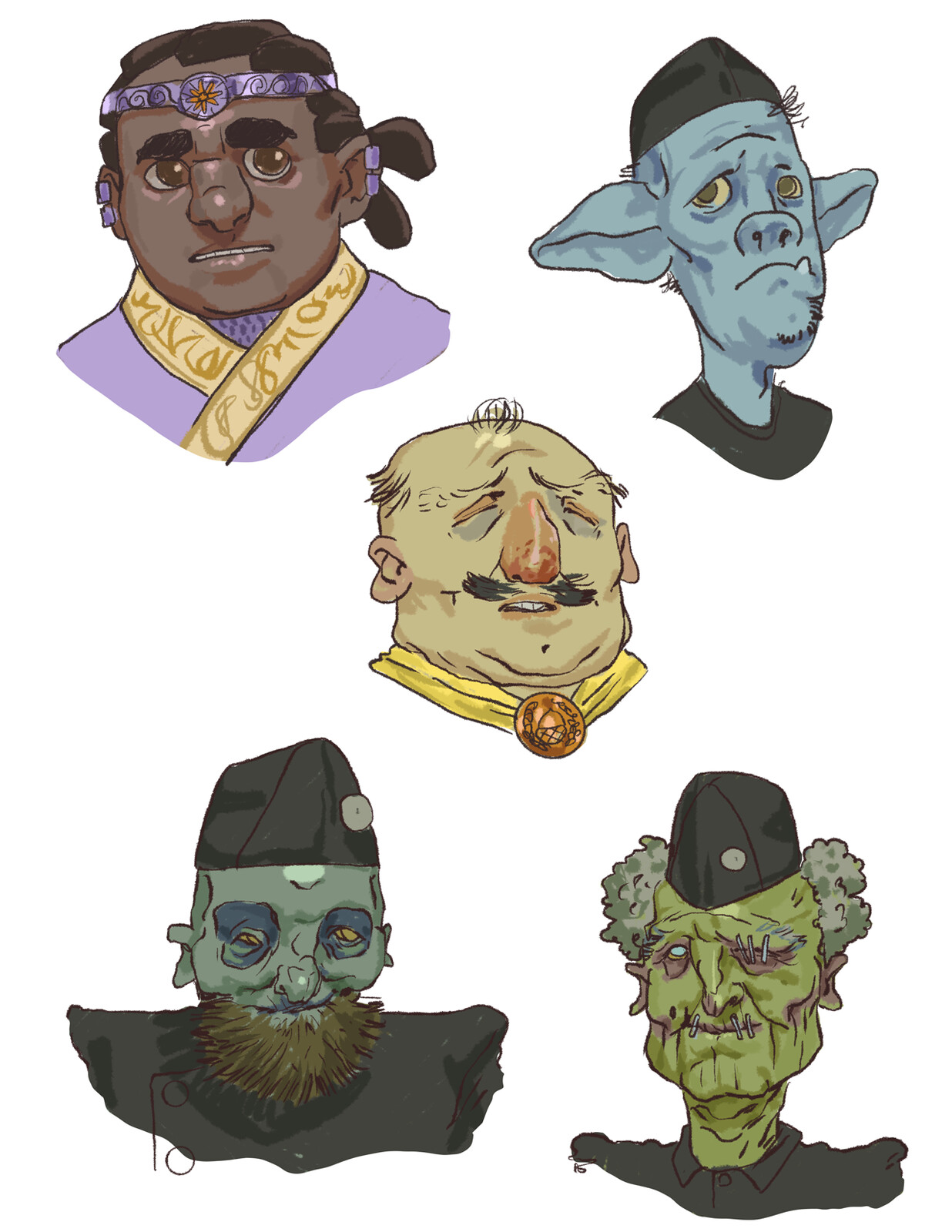 Portraits of NPCs and enemies the players could encounter in the adventure