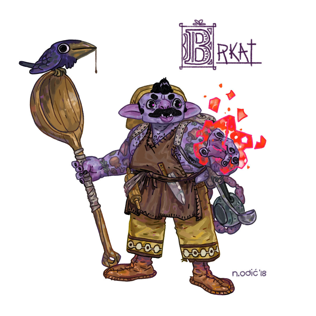 Brkat (and Boss Bird) -- Half-Orc Warlock