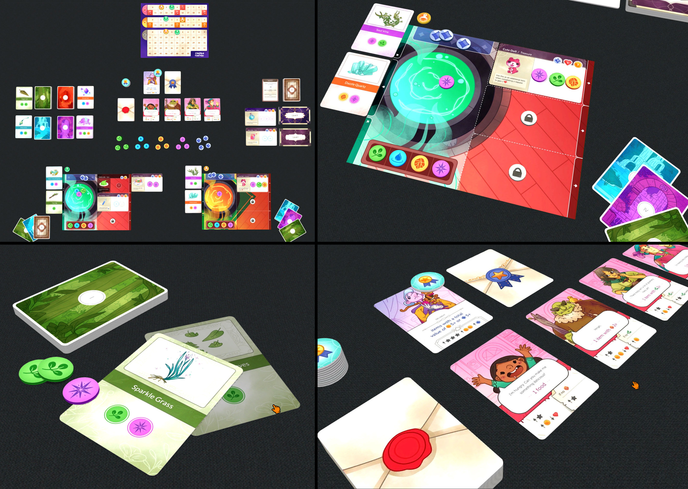 Gameplay Screenshots on Tabletopia showing the card art in context of the rest of the game.  Design and Art Direction by Ami Moore