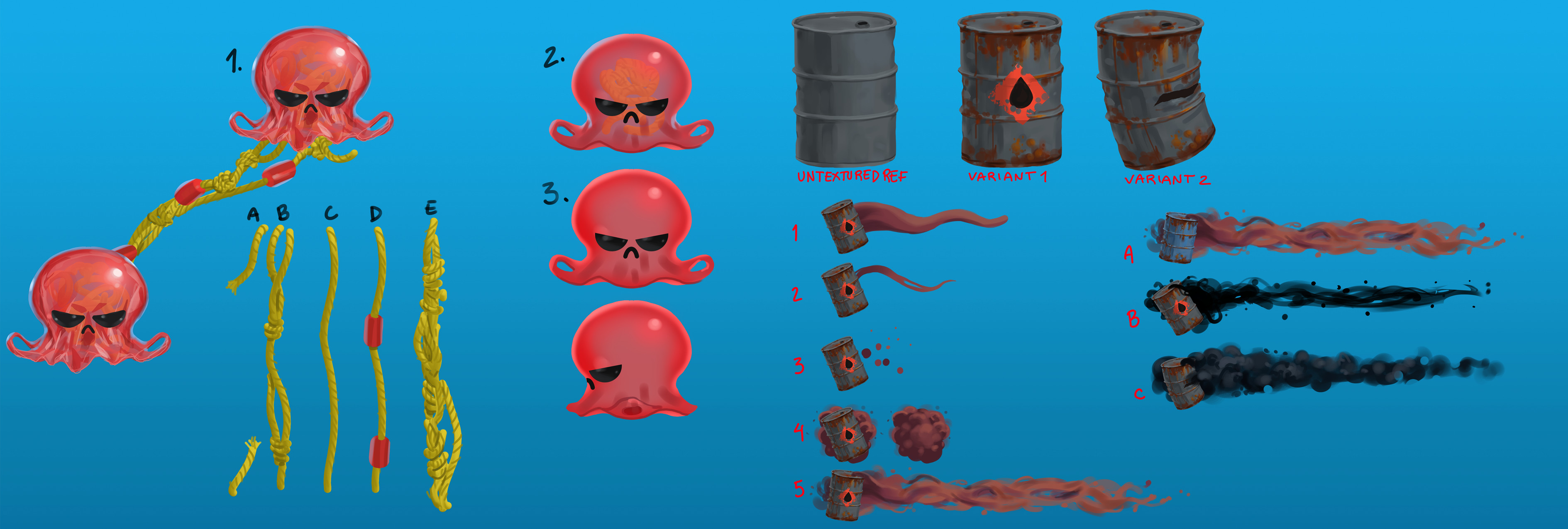 Concepts for enemies and obstacles  Since the theme of the game was pollution, all the enemies and obstacles were made out of man-made objects. Here the jellyfish and and wall are made out of plastic debris and an oil drum respectively.