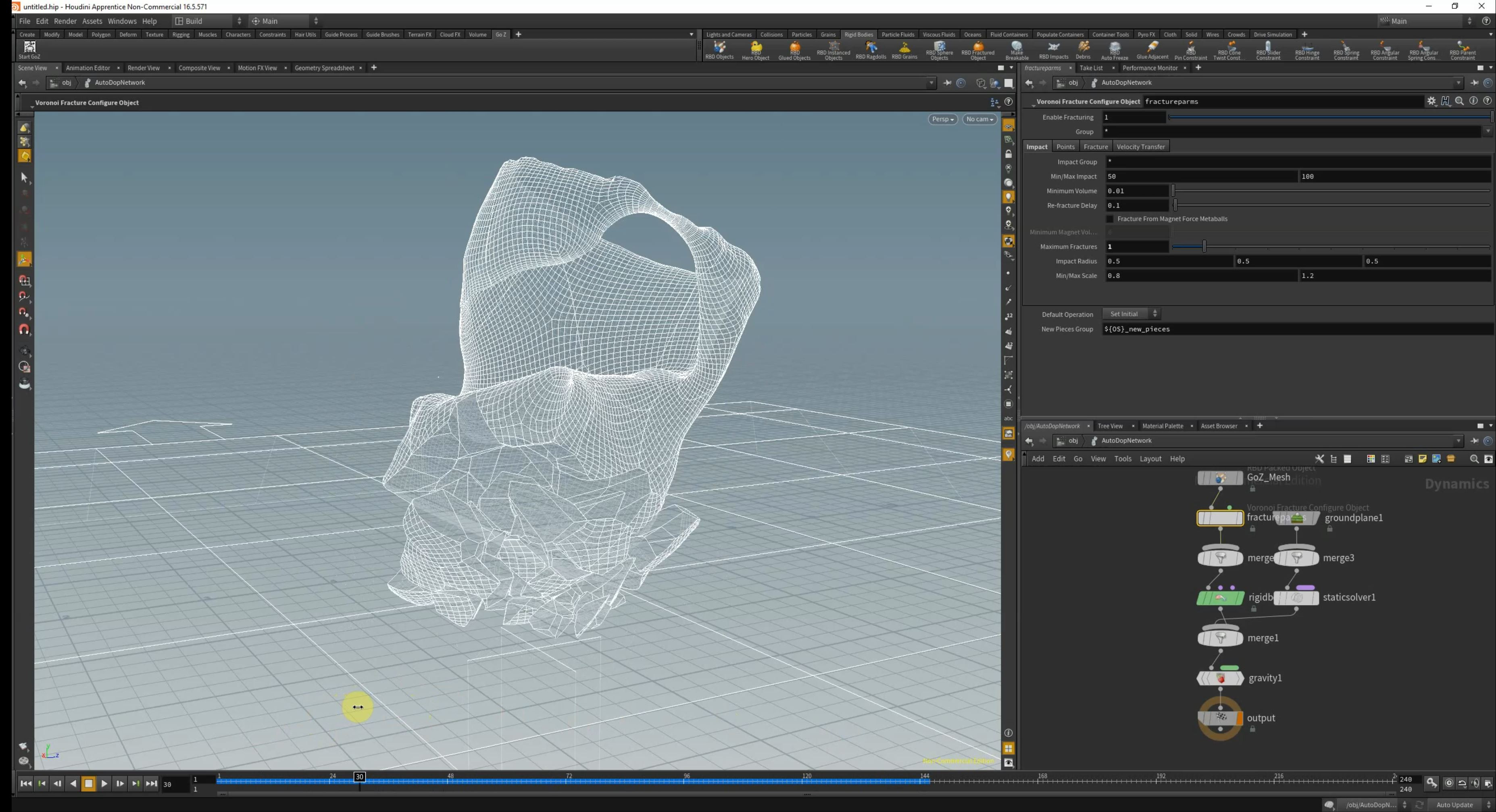 Mesh imported to houdini, beginning to explore shatter sims.