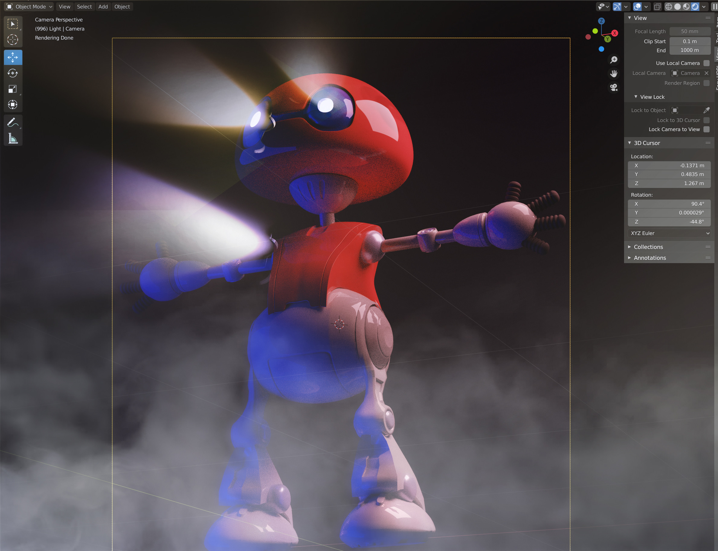 Robot T-Pose & Cycles viewport render
